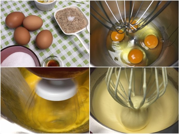 """Using a <a href=""""http://amzn.to/2eKRdmE"""" target=""""_blank"""">stand electric mixer</a>, beat the eggs for 1 minute on high. Leaving <a href=""""http://amzn.to/2eKRdmE"""" target=""""_blank"""">the mixer</a> on, slowly add in <a href=""""http://amzn.to/2eKzzj2"""" target=""""_blank"""">erythritol</a> and continue beating for whole 8 minutes. The mixture will become thick and fluffy."""