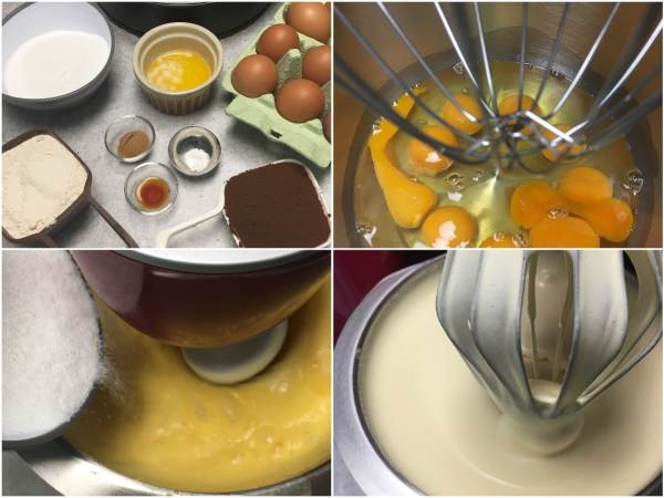 """Using a <a href=""""http://amzn.to/2eKRdmE"""" target=""""_blank"""">stand electric mixer</a>, beat 9 eggs with the whisk attachment for 1 min on high spped. With the mixer on, gradually add 1 cup <a href=""""http://amzn.to/2eKzzj2"""" target=""""_blank"""">erythritol</a>  and continue beating on high speed a full 8 min. It will be thick and fluffy. Tip: You will need a huge mixing bowl."""