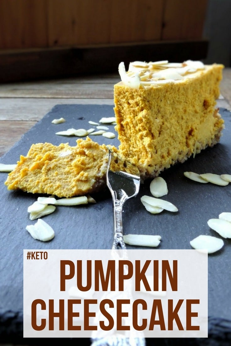 Autumn shouldn't go by without some sweet indulgence. This keto pumpkin cheesecake is an awesome combination of pumpkin, dairy, and spices! #keto #ketogenic #lowcarb #ketopumpkincake #ketocheesecake #cake #dessert #recipe #mysweetketo