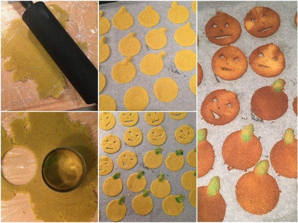 Roll the dough into 1/8-inch thick layers. Help yourself with some wrapping kitchen foil so the dough doesn't stick. Cut out 26 circles with a 2-inch round cutter. Place them on the cookie sheet. Using a sharp knife, carve Halloween faces int 13 circles. Make pumpkin stems out of the spare dough and press them on the circles. Bake for 10 minutes. Watch closely to prevent burning. Wait for the cookies to cool down and firm up.