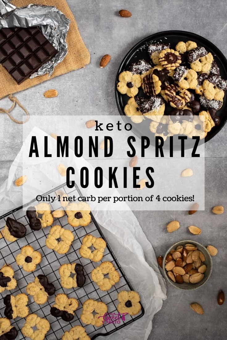 These keto almond spritz cookies are made using a cookie press. They are beyond simple to make, delicious, and baked in practically no time! #keto #ketogenic #lowcarb
