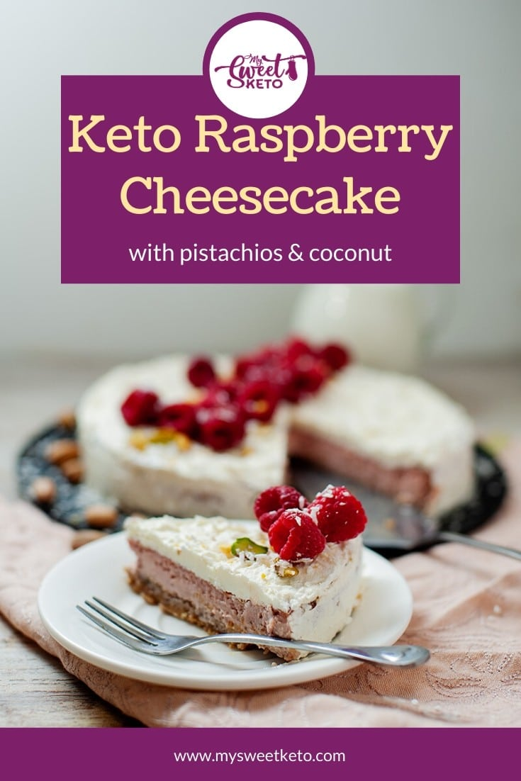 Satisfy your sweet cravings with this keto raspberry cheesecake recipe that results in a perfect dessert for low carb and keto diets. #keto #ketocheesecake #ketocake