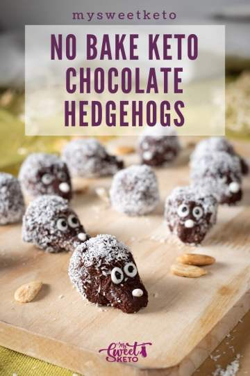 No Bake Keto Hedgehogs recipe by MySweetKeto #keto. Love chocolate and nuts combination? The fun of keto chocolate hedgehogs isn't only in their shape. The recipe is so quick and easy to make! #lowcarb #glutenfree