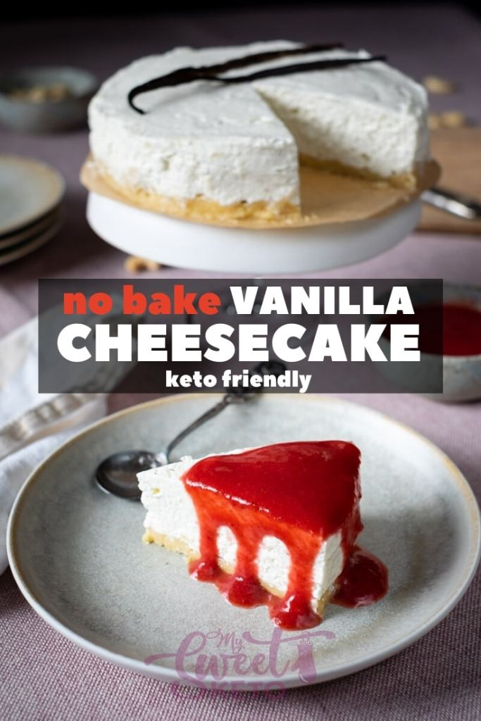 I adore any keto-friendly vanilla dessert! This no bake low carb vanilla cheesecake is completely egg-free and therefore requires no heating. #keto #ketocheesecake
