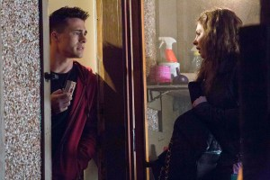 Photo caption: Colton Haynes (left) and Willa Holland in ARROW.