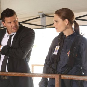 "BONES: Brennan (Emily Deschanel, R) and Booth (David Boreanaz, L) investigate the murder of a state department accountant, whose remains were found in a hotel air conditioning unit in the ""The Secrets in the Proposal"" season premiere episode of BONES airing Monday, Sept. 16 (8:00-9:00 PM ET/PT) on FOX. ©2013 Fox Broadcasting Co.  Cr: Patrick McElhenney/FOX"
