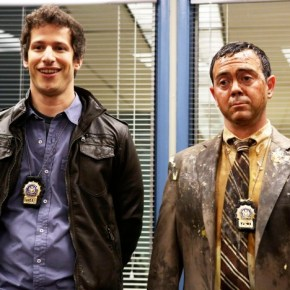 "BROOKLYN NINE-NINE: From Emmy Award-winning writer/producers of ""Parks and Recreation"" and starring Emmy Award winner Andy Samberg (L) BROOKLYN NINE-NINE is a new single-camera workplace comedy about what happens when a hotshot detective (Samberg) gets a new Captain with a lot to prove The new single-camera workplace comedy BROOKLYN NINE-NINE premieres this fall on FOX. Also pictured Joe Lo Truglio. ©2013 Fox Broadcasting Co. Cr: Beth Dubber/FOX"