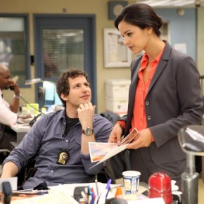 "BROOKLYN NINE-NINE: From Emmy Award-winning writer/producers of ""Parks and Recreation"" and starring Emmy Award winner Andy Samberg (L) BROOKLYN NINE-NINE is a new single-camera workplace comedy about what happens when a hotshot detective (Samberg) gets a new Captain with a lot to prove. The new single-camera workplace comedy BROOKLYN NINE-NINE premieres this fall on FOX. Also pictured Melissa Fumero. ©2013 Fox Broadcasting Co. Cr: Beth Dubber/FOX"