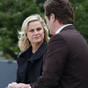 "PARKS AND RECREATION -- ""London"" Episode 601/602 -- Pictured: (l-r) Amy Poehler as Leslie Knope, Nick Offerman as Ron Swanson -- (Photo by: Tim Whitby/NBC)"