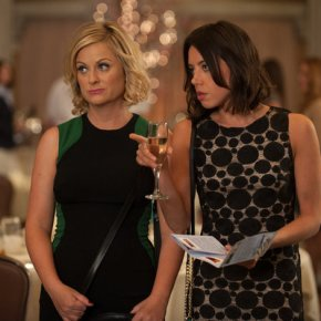 "PARKS AND RECREATION -- ""London"" Episode 601/602 -- Pictured: (l-r) Amy Poehler as Leslie Knope, Aubrey Plaza as April Ludgate -- (Photo by: Colleen Hayes/NBC)"