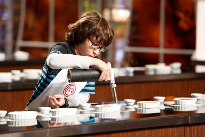 """MASTERCHEF: Contestant Jimmy during the Brulee Challenge in the all-new """"Junior Edition: Creme De La Creme"""" episode of MASTERCHEF airing Tuesday, Feb. 17 (8:00-9:00 PM ET/PT) on FOX. CR: Greg gayne / FOX. © 2014 Fox Broadcasting."""