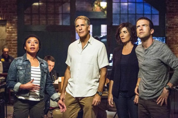 """Sic Semper Tyrannis"" -- Pride and the team plan a dangerous undercover operation when a military convoy is attacked and a missile is stolen, on the second season premiere of NCIS: NEW ORLEANS, Tuesday, Sept. 22 (9:00-19:00 PM, ET/PT), on the CBS Television Network. Pictured L-R: Shalita Grant as Sonja Percy, Scott Bakula as Special Agent Dwayne Pride, Zoe McLellan as Special Agent Meredith ""Merri"" Brody, and Lucas Black as Special Agent Christopher LaSalle Photo: Skip Bolen/CBS ©2015 CBS Broadcasting, Inc. All Rights Reserved"