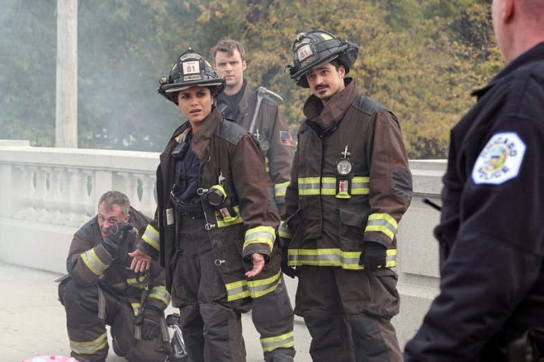 "CHICAGO FIRE -- ""When Tortoises Fly"" Episode 408 -- Pictured: (l-r) David Eigenberg as Christopher Herrmann, Monica Raymund as Gabriela Dawson, Yuri Sardarov as Otis -- (Photo by: Elizabeth Morris/NBC)"