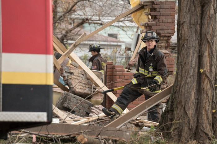 "CHICAGO FIRE -- ""The Path of Destruction"" Episode 411 -- Pictured: David Eigenberg as Christopher Herrmann -- (Photo by: Elizabeth Morris/NBC)"