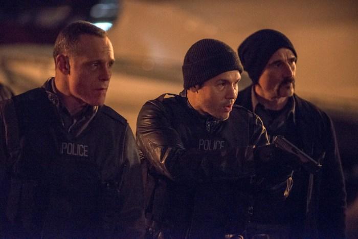 "CHICAGO P.D. -- ""Hit Me"" Episode 313 -- Pictured: (l-r) Jason Beghe as Hank Voight, Jon Seda as Antonio Dawson, Elias Koteas as Alvin Olinsky -- (Photo by: Matt Dinerstein/NBC)"