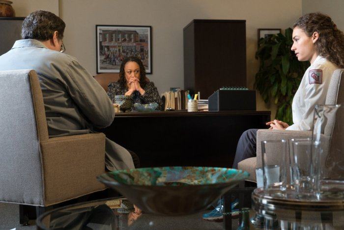"CHICAGO MED -- ""Intervention"" Episode 111 -- Pictured: (l-r) Oliver Platt as Dr. Daniel Charles, S. Epatha Merkerson as Sharon Goodwin, Rachel DiPillo as Dr. Sarah Reese -- (Photo by: Elizabeth Sisson/NBC)"