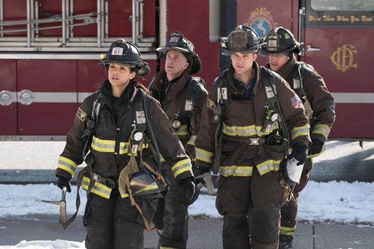 "CHICAGO FIRE -- ""What Happened to Courtney"" Episode 417 -- Pictured: (l-r) Miranda Rae Mayo as Stella Kidd, David Eigenberg as Christopher Herrmann, Jesse Spencer as Matthew Casey, Christian Stolte as Randy ""Mouch"" McHolland -- (Photo by: Elizabeth Morris/NBC)"