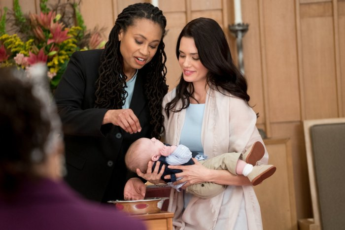 "CHICAGO MED -- ""Us"" Episode 113 -- Pictured: (l-r) Olivia Dawson as Chaplain, Torrey DeVitto as Natalie Manning -- (Photo by: Elizabeth Sisson/NBC)"