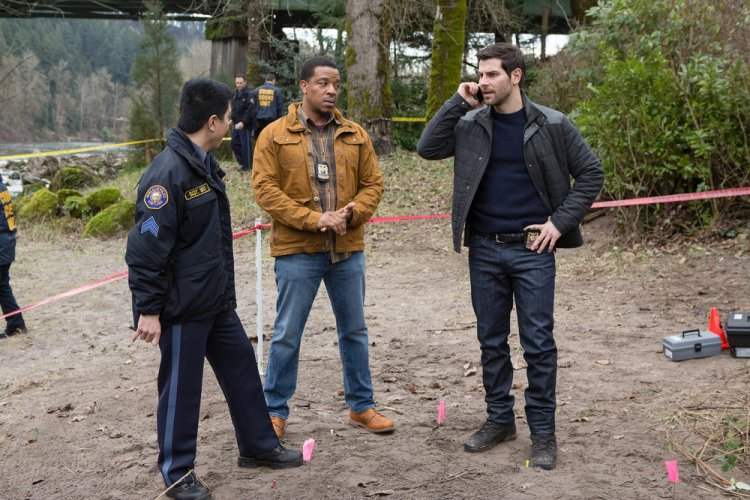 """GRIMM -- """"Inugami"""" Episode 517 -- Pictured: (l-r) Reggie Lee as Sergeant Wu, Russell Hornsby as Hank Griffin, David Giuntoli as Nick Burkhardt -- (Photo by: Scott Green/NBC)"""