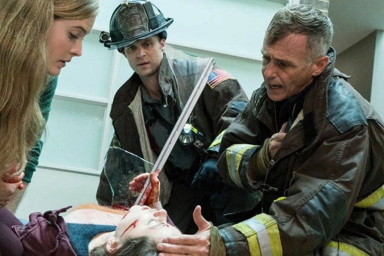 "CHICAGO FIRE -- ""That Day"" Episode 506 -- Pictured: (l-r) Jesse Spencer as Matthew Casey, David Eigenberg as Christopher Herrmann -- (Photo by: Elizabeth Morris/NBC)"