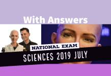 Baccalaureate National Exam Sciences 2019 July