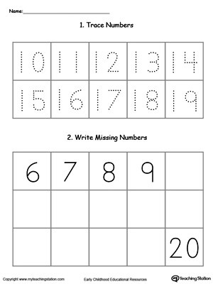 Early Childhood Writing Numbers Worksheets