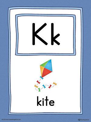 Letter K Large Alphabet Picture Card Printable Color Myteachingstation Com