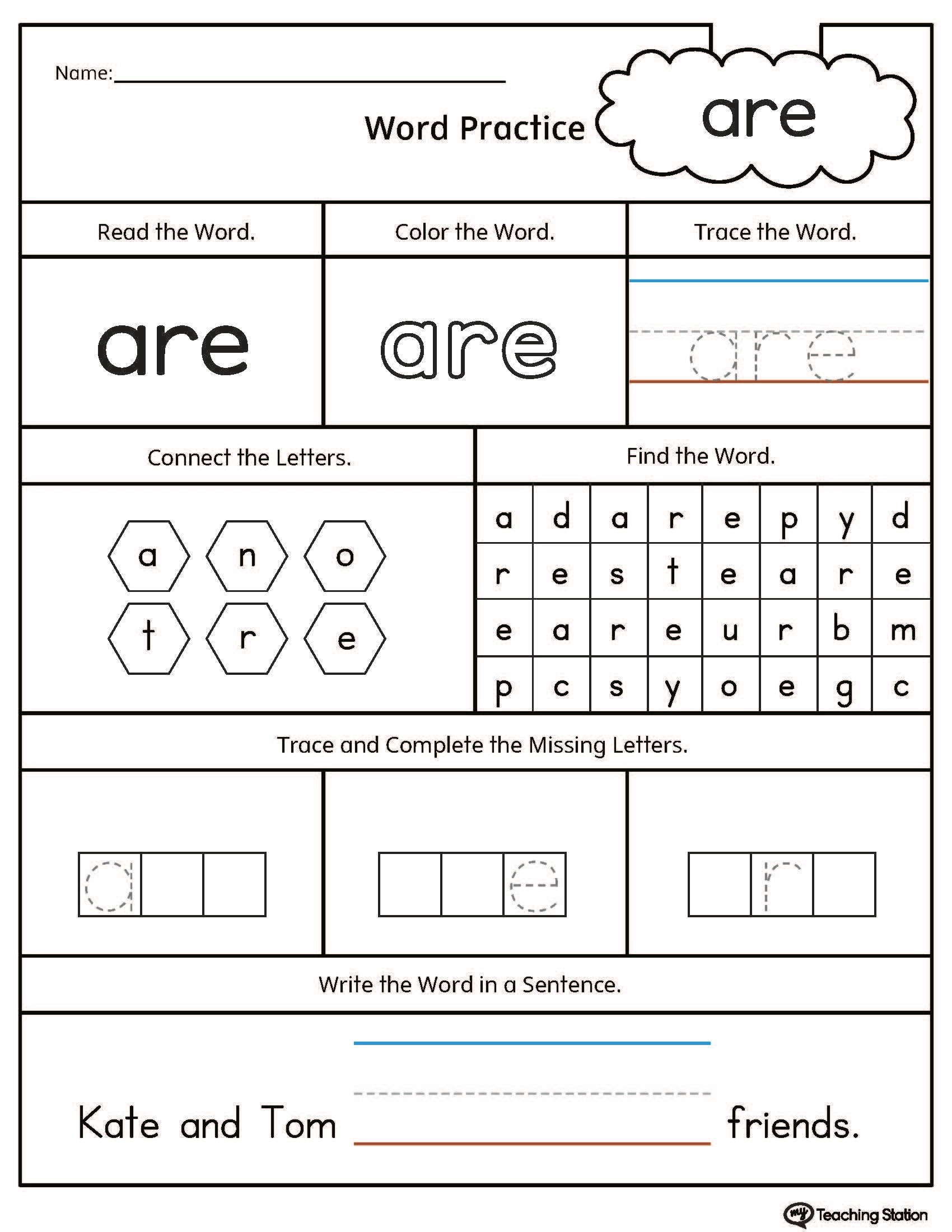 Worksheet Rainbow Words Kindergarten