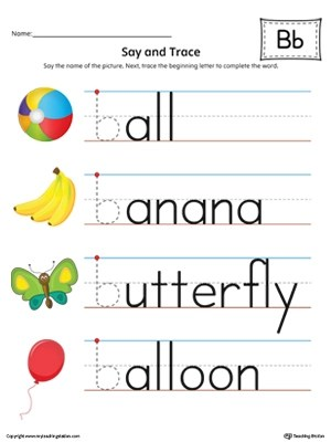 Say And Trace Letter B Beginning Sound Words In Color