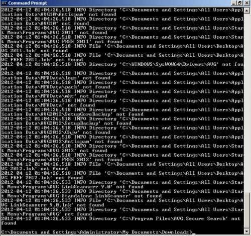 AVG Remover Status