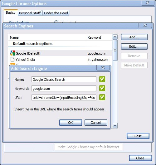 manage Chrome search engines