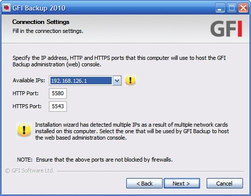 GFI Backup connection settings