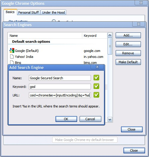 Make Google SSL search default in Chrome
