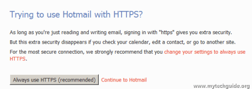 Hotmail Always use HTTPS