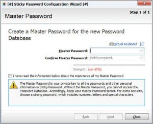 Create Master Password in Sticky Password