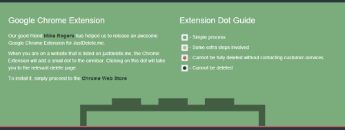 justdelete.me chrome extension