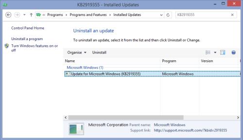 8.1 Update KB2919355