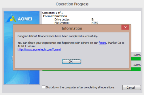 AOMEI Partition Assistant Standard - Operations complete