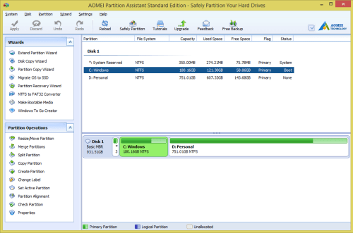 AOMEI Partition Assistant Standard - System drive menu