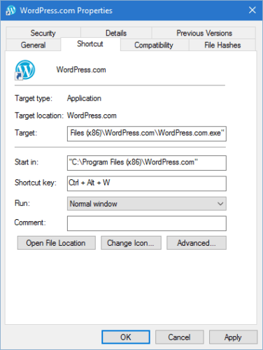 create keyboard shortcuts to open programs