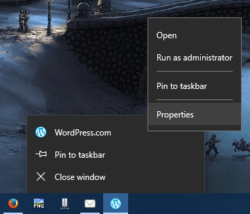 right click on shortcut key and select properties