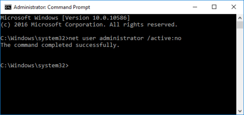 Disable Administrator Account Using Command Prompt in Windows 10