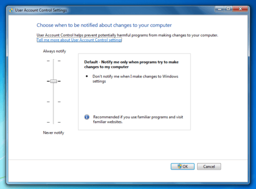 enable or disable UAC in Windows 7, Vista