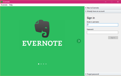 Evernote desktop app