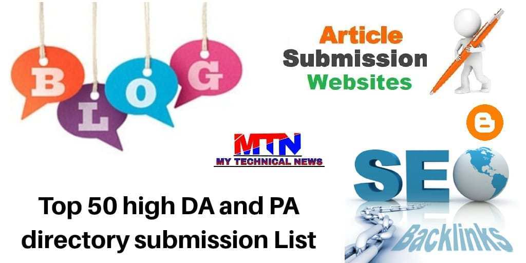 TOP 50 HIGH DA DIRECTORY SUBMISSION SITES LIST 2019-20