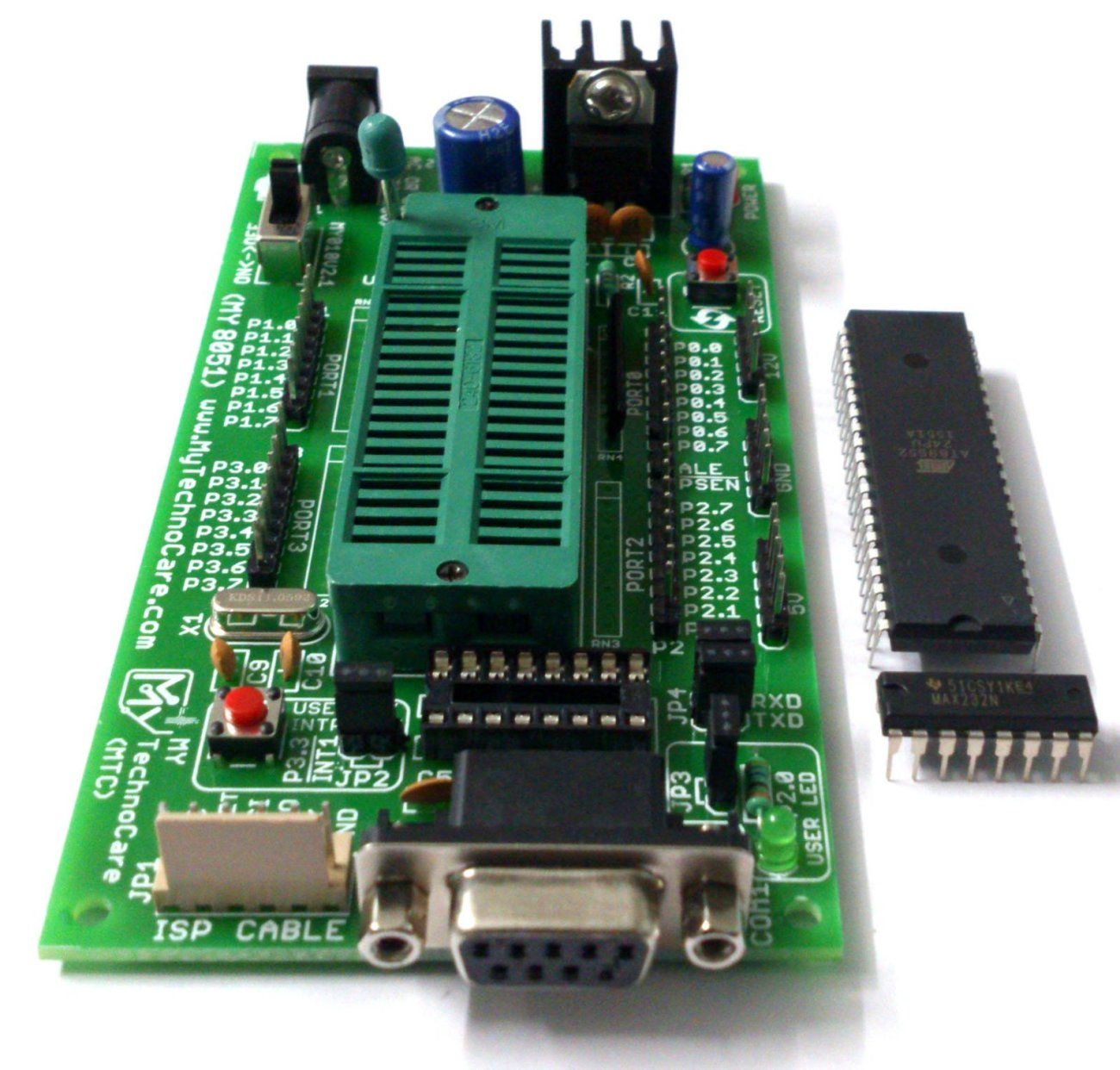 8051 Microcontroller Board With Zif Socket