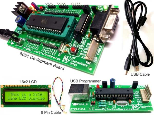 16x2 LCD interfacing with 8051 Development Board ZIF Scoket + USB Microcontroller Programmer AT89S52 IC India MyTechnoCare.com