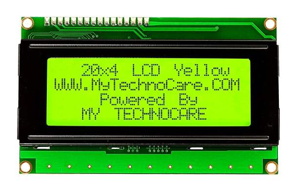 20x4 Character LCD Display Arduino 20x4 LCD Display JHD204A With Yellow Green backlight HD44780 www.MyTechnoCAre.com 20x4 LCD Display Yellow BackLight For Arduino,8051,Raspberry Pi,AVR,PIC,ARM MicroController Kit JHD402A HD44780 Compatible Dimension Pinout Connection Configuration Command Code 204A
