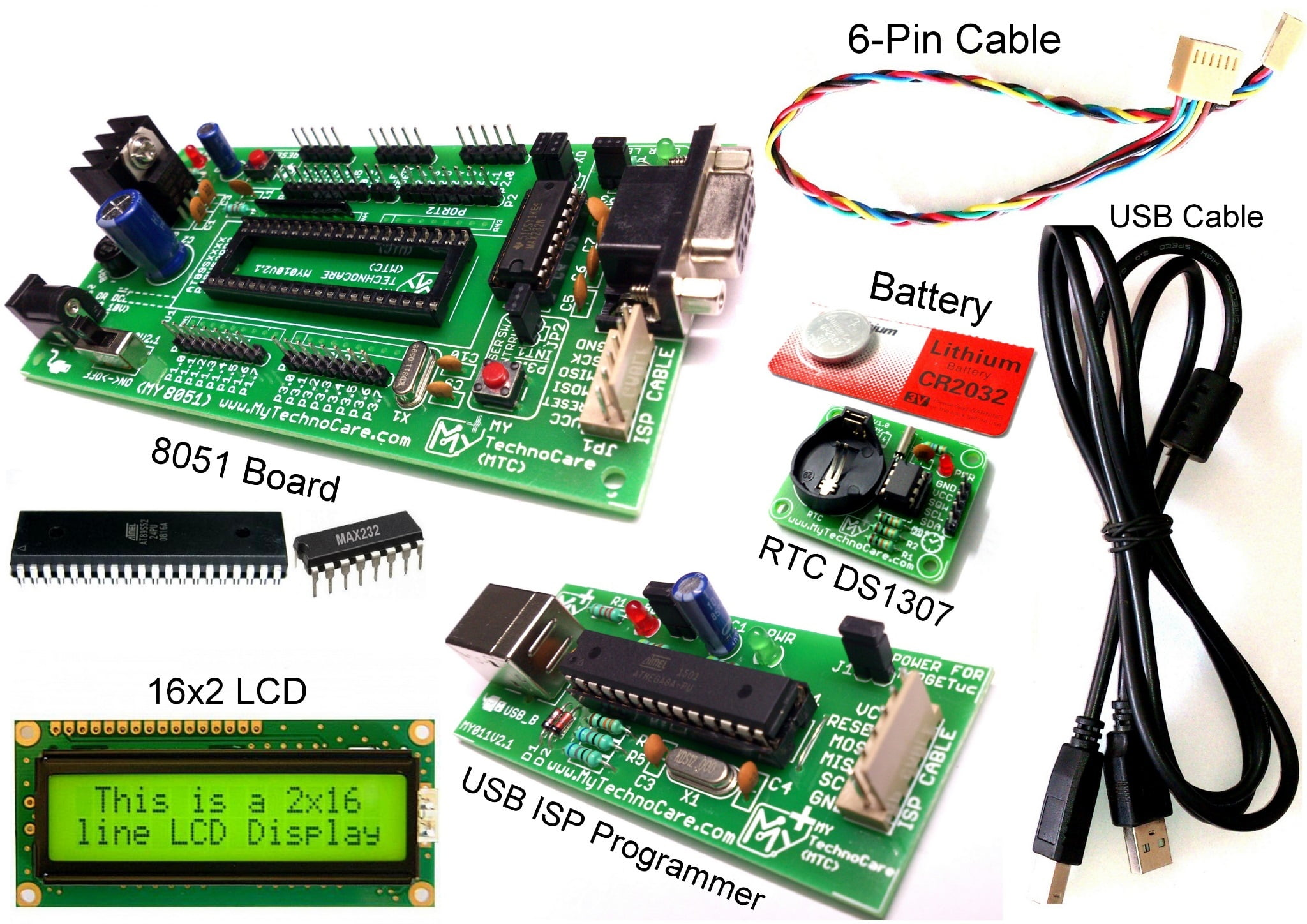 ds1307 with 8051 development board buy rtc module my technocarertc ds1307 with 8051 development board buy with programmer,16×2 lcd display jhd162a