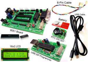 DS1307 with 8051 Development Board buy from india 8051 Project Board+Atmel USB asp ISP AVR Programmer Real Time Clock DS1307 RTC 16x2 LCD MyTechnoCare.com